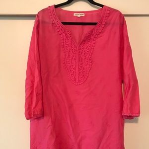 Hot pink tunic cute floral lace at bottom 3xl